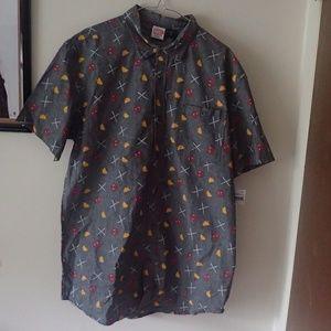 NWT***Deadpool Taco Short Sleeve Button Down Shirt